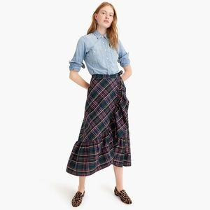 NWT J. Crew Plaid Ruffle Wrap Skirt